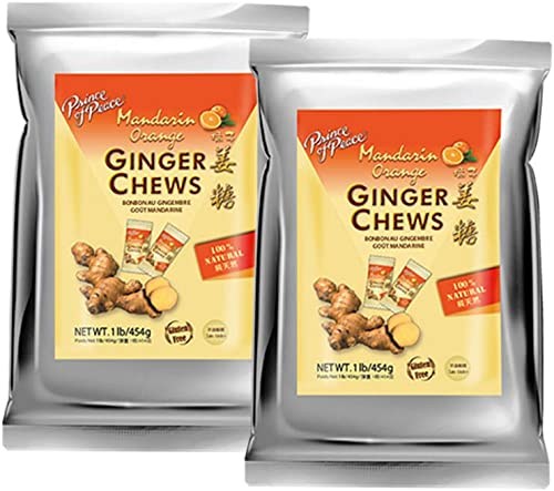 popular Prince of popular Peace Ginger Chews with Mandarin Orange, 1 lb. – Candied Ginger – Orange Candy – Orange Ginger Chews – Natural Candy – Ginger wholesale Candy for Nausea - 2 Pack online sale