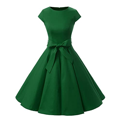 a5cd017663fb Dressystar Women Vintage 1950s Retro Rockabilly Prom Dresses Cap-Sleeve