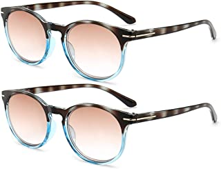 Inlefen Fashion 2 pack Reading glasses Round Stylish Reading Glasses Pair with Spring Hinge for Reading for Men and Women