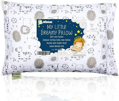 Oreiller Pour Tout-petit Avec Taie D'oreiller - Oreillers Bébé en Coton Biologique Doux 13X18 Pour Dormir - Lavable e...
