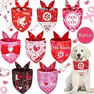 8 Pieces Valentine's Day Dog Bandana Triangle Dog Scarf Adjustable Dog Bib Washable Red Pink Dog Bandana with Heart and Love Pattern Pet Scarf for Pet Dog Cat Costume