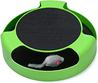Mumoo Bear Cat Interactive Toys with a Running Mice and a Scratching Pad, Green