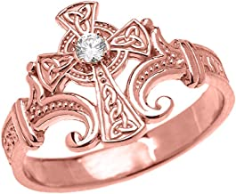 Religious Jewelry by FDJ 10k Rose Gold Solitaire Diamond Celtic Cross with Encrypted Prayer Blessings Elegant Ring