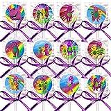Barney Purple Dinosaur Lollipops, One Dozen 12 pcs with Purple Ribbon Bows, 4 inch lollipop w stick , 1.5 inch diameter candy sucker