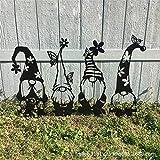 Gartenzwerg Silhouette, Stahlzweig Stehende Gnom Dekorationen, Garten Silhouette Pfähle, Stahlzweig Gnomen Dekoration Niedliche Stehende Silhouette Für Hausgarten Yards (MODL # 4)
