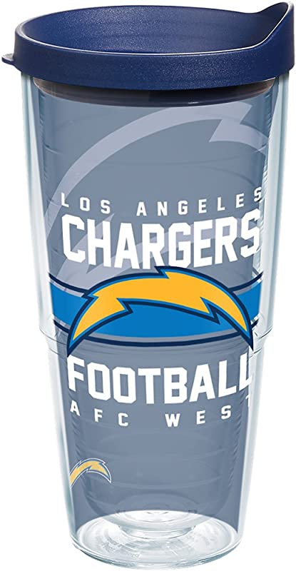 Tervis 1259700 NFL Los Angeles Chargers Gridiron Insulated Tumbler With Wrap And Navy Lid 24oz Clear