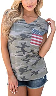 Jhxu-Tops 4th of July Shirts for Women American Flag Tank Top Girl Camouflage T Shirt Vest 4th of July Clothes