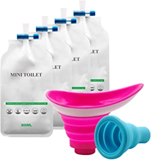 Urinal Device Female Male Urination Bag, Silicone Foolproof Shrinkable Portable Women Man Pee Funnel