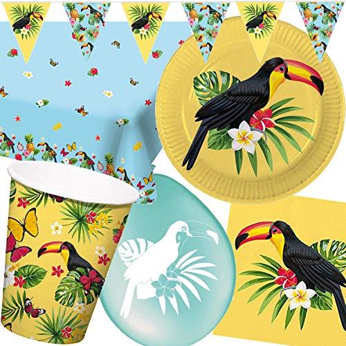 Folat/Carpeta Lot DE 98 pièces Set de fête Tukan * pour Un Party de Jardin avec Assiette, gobelet, Serviettes, décoration, Motto Anniversaire, Paradis Oiseaux, Hawaï