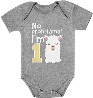 Tstars Gift for 1 Year Old Girl No Probllama Funny 1st Birthday Baby Bodysuit