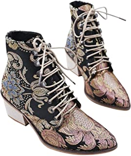 YYW Womens Embroidery Lace up Ankle Boots Fashion Pointed Toe Slip on Cutout Booties Chunky Stacked Block Heels Booties