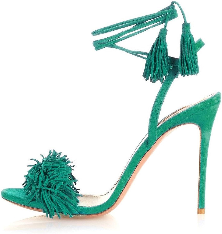 ViViKiKi Women's Open Toe Tassels Embellished Self-ties Fringed Suede Sandals High Heel Dress shoes