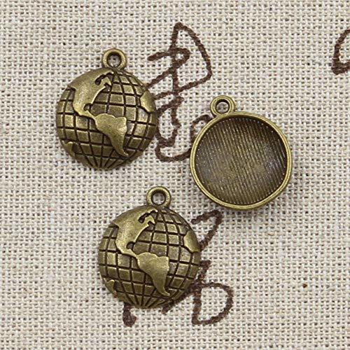 WANM 8 Piezas Encantos Globo Terráqueo Planeta 19X16 Mm Antiguo Colgante De Bronce Tibetano Accesorios DIY Vintage Gargantilla Joyería Colgante De Aleación