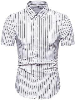 Abeaicoc Men Fashion Short Summer Button Stripe Sleeve Down Dress Work Shirt
