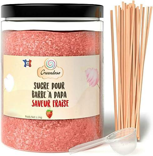 Greendoso-Sucre Barbe à Papa Fraise 1,2 Kg, Poudre Barbapapa pour Machine + 50 Bâtonnets de 30Cm (Offerts) + 1 Cuillè...