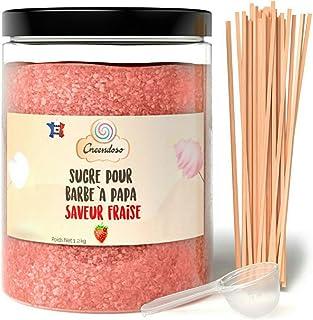 Greendoso-Sucre Barbe à Papa Fraise 1,2 Kg, Poudre Barbapapa pour Machine + 50 Bâtonnets de 30Cm (Offerts) + 1 Cuillère Me...