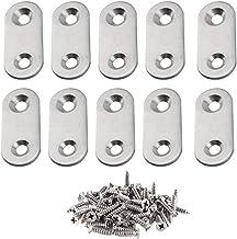 LINVINC Platte Rechte Beugels - 2 Gaten Roestvrijstalen Platte Hoekbeugel met Schroeven, 10 pcs, 40 * 16mm