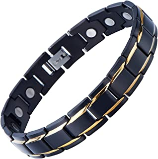 COOLSTEELANDBEYOND Magnetic Stainless Steel Mens Gold Black Power Element Bracelet with Magnets and Free Link Removal Kit