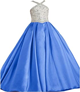 Little Girls Glitz Shiny Ball Gowns Long Princess Birthday Party Dresses