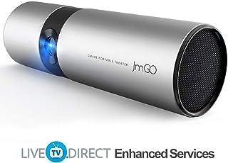 Video Projector, JmGO P3 Android Smart TV Portable Cinema Mini Projector HDMI 1080p HD Support Built-in 15600mAh Batteries and Hi-Fi Speaker
