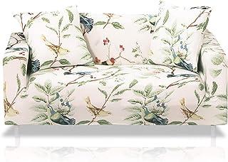 comprar comparacion Fashion·LIFE 2 Plazas Funda de Sofá Elástico Cubierta Floral Print Funda Protectora de Poliéster Suave sofá,Blanco Polvo