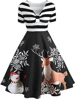 Hengshikeji Christmas Party Dresses Women Short Sleeve Stripe Elk Print Vintage Swing Mini Dress