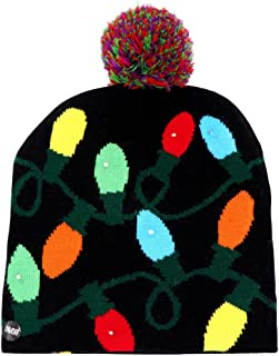 OurWarmLED Light-up Christmas Hats Xmas Santa Ugly Hat Beanies 10 Colorful Lights Flashing Cap for New Year Party