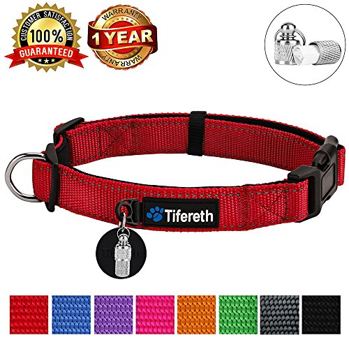 Tifereth Dog Collars Nylon Buckle Dog Collar Comfortable Dog Collar Padded and Light Weight 8 Colors Small Medium Large Sizes (Free Pet ID Tag) (Large, Red)