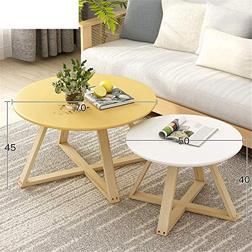 Coffee Tea Table Wood Nesting Round End Table,Set of 2 Coffee Table Modern Minimalist Side Table for Living Room, Balcony (Color : Yellow, Size : M)