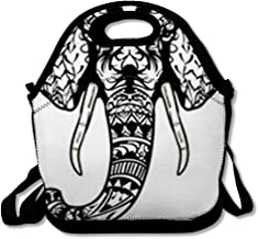 Lunch Bag for Women Men Doodle Elephant Head Adult Antistress Coloring Page Black White Ethnic Patterned African Drawn Reusable Insulated Lunch Tote with Zipper