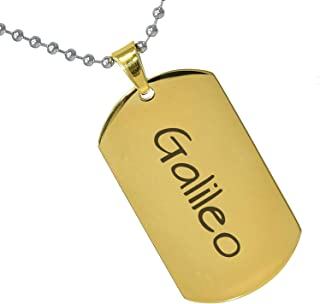 Stainless Steel Silver Gold Black Rose Gold Color Baby Name Galileo Engraved Personalized Gifts For Son Daughter Boyfriend Girlfriend Initial Customizable Pendant Necklace Dog Tags 24'' Ball Chain