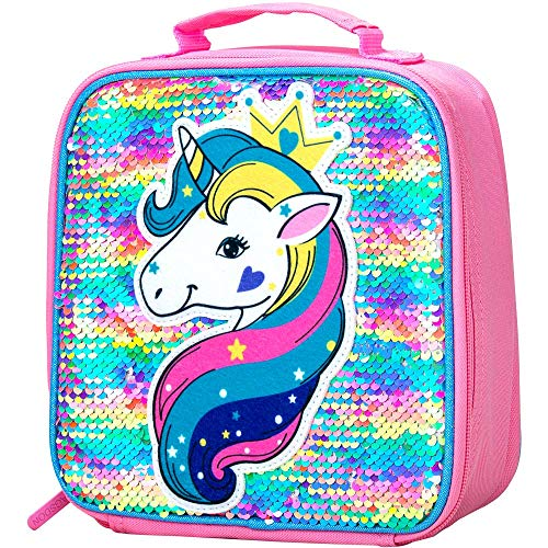 Lunch Box for Girls, Unicorn Sequin Lunch Bag