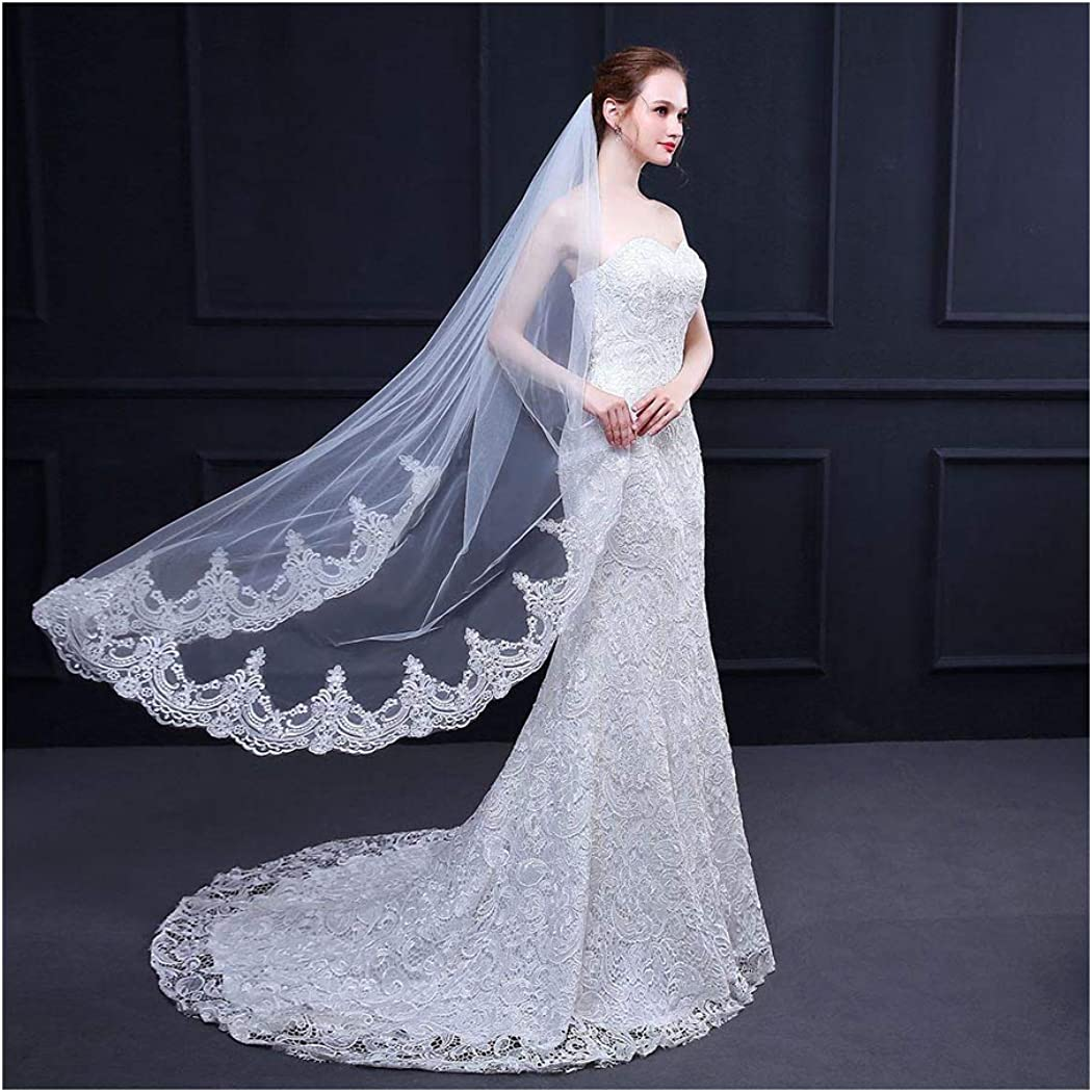 Campsis 1 Tier Bride Wedding Veil White 59'' Long Bridal Veils Lace Edge Veil with Comb Hair Accessories for Women and Girls