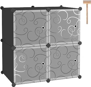 C&AHOME Cube Storage with Doors, 4-Cube Storage Organizer, Plastic Closet Cabinet, Modular Book Shelving Units, Storage S