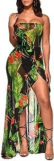 Women Sexy Strapless Floral Leaf Print See Through Mesh Ruffle Hight Split Beach Long Maxi Dress Sundress