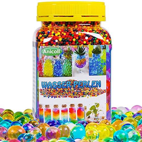 Anicoll Wasserperlen groß XL 55000PCS Wasserkugeln für Kinder Gel Perlen Aquaperlen 13mm/14 Farben Bunte Wachsen In Wasser für Vase Füllstoff Pflanzen, Blumen Dekoration Wiederverwendbar 400g