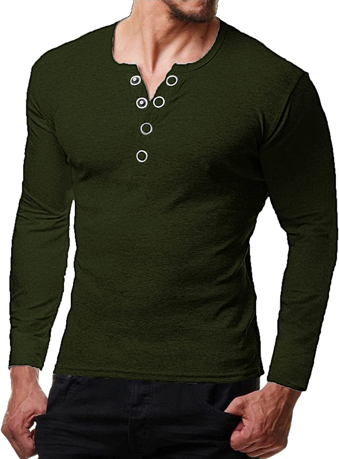 Aayomet Men's T Shirts Casual Long Sleeve Button V Neck Henley Shirts Slim Fit Daily Yoga Sport Beach Tee Shirts Tops