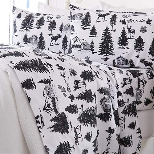 Great Bay Home Extra Soft Printed 100% Turkish Cotton Flannel Sheet Set Warm Cozy Luxury Winter Bed Sheets Belle Collection Full December Frost