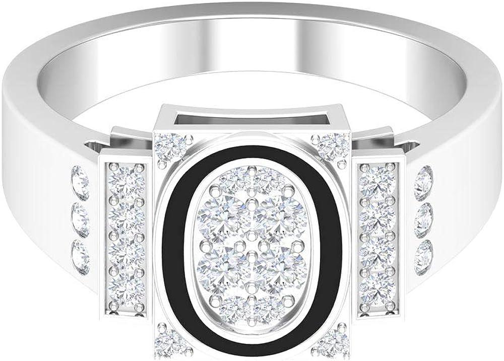 Initial Engagement Ring, O Letter Alphabet Ring, HI-SI 1/2 CT Round Diamond Ring, Black Enamel Ring, Personalized Anniversary Ring, Wedding Ring, 14K Gold