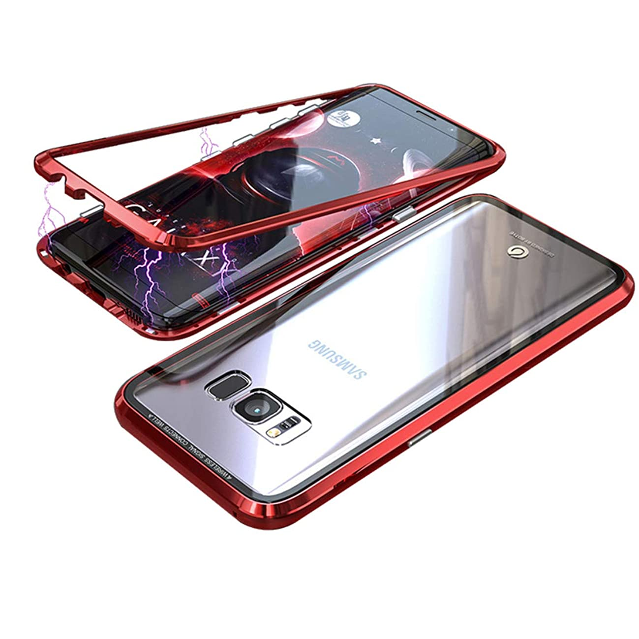 LANYOS Compatible Samsung Galaxy S8 Plus Case, Magnetic Adsorption Metal Frame Clear Tempered Glass Back Cover with Built-in Magnet Flip with a Screen Protector (Red)