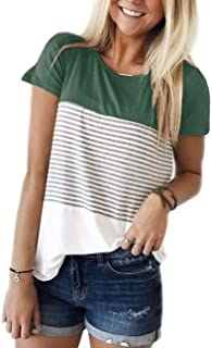 Women's Round Neck Striped Color Block T-Shirt Long Sleeve Casual Loose Tunic Blouse and Tops