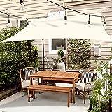 OKAWADACH Toldo Vela de Sombra Triangular 3 x 4m, Vela de Sombra Protección UV para Patio, Exteriores, Jardín, Blanquecino
