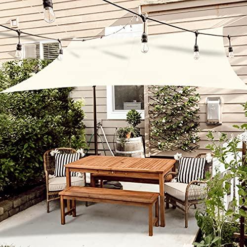 OKAWADACH Sonnensegel 3 x 4m, Beigeweiß Polyester Sonnensegel Sonnenschutz Garten Balkon und Terrasse wetterbeständig mit UV Schutz Windschutz für Garten Terrasse Camping