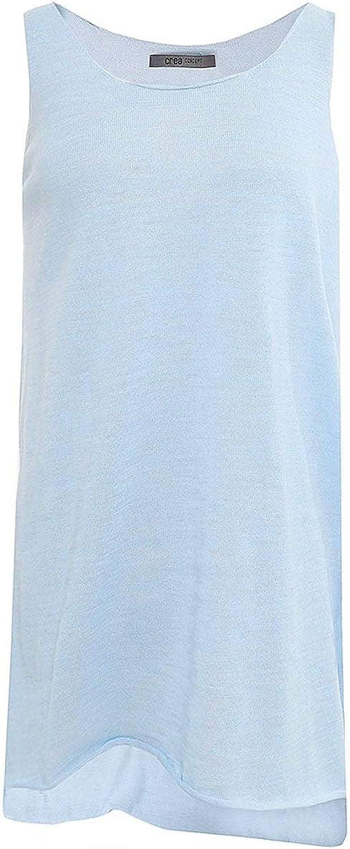 Crea Concept Women's Linen Sleeveless Top bluee