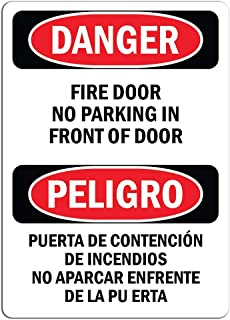 Warning - Fire Door No Parking in Front of Door - Large Metal Aluminum Sign Mark Shopping Mall Industrial Mark 16 x 12 inches.