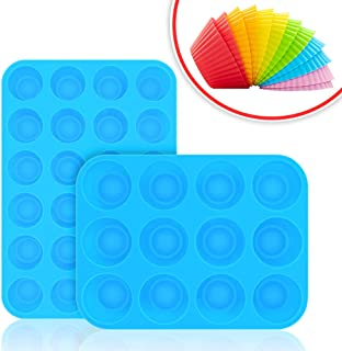 Bligli Muffin Cupcake Pan Set - Mini 24 Cups and Regular 12 Cups Muffin Tin, Nonstick BPA Free Best Food Grade Silicone Molds with Bonus 12 Silicone Baking Cups (Molds Set)