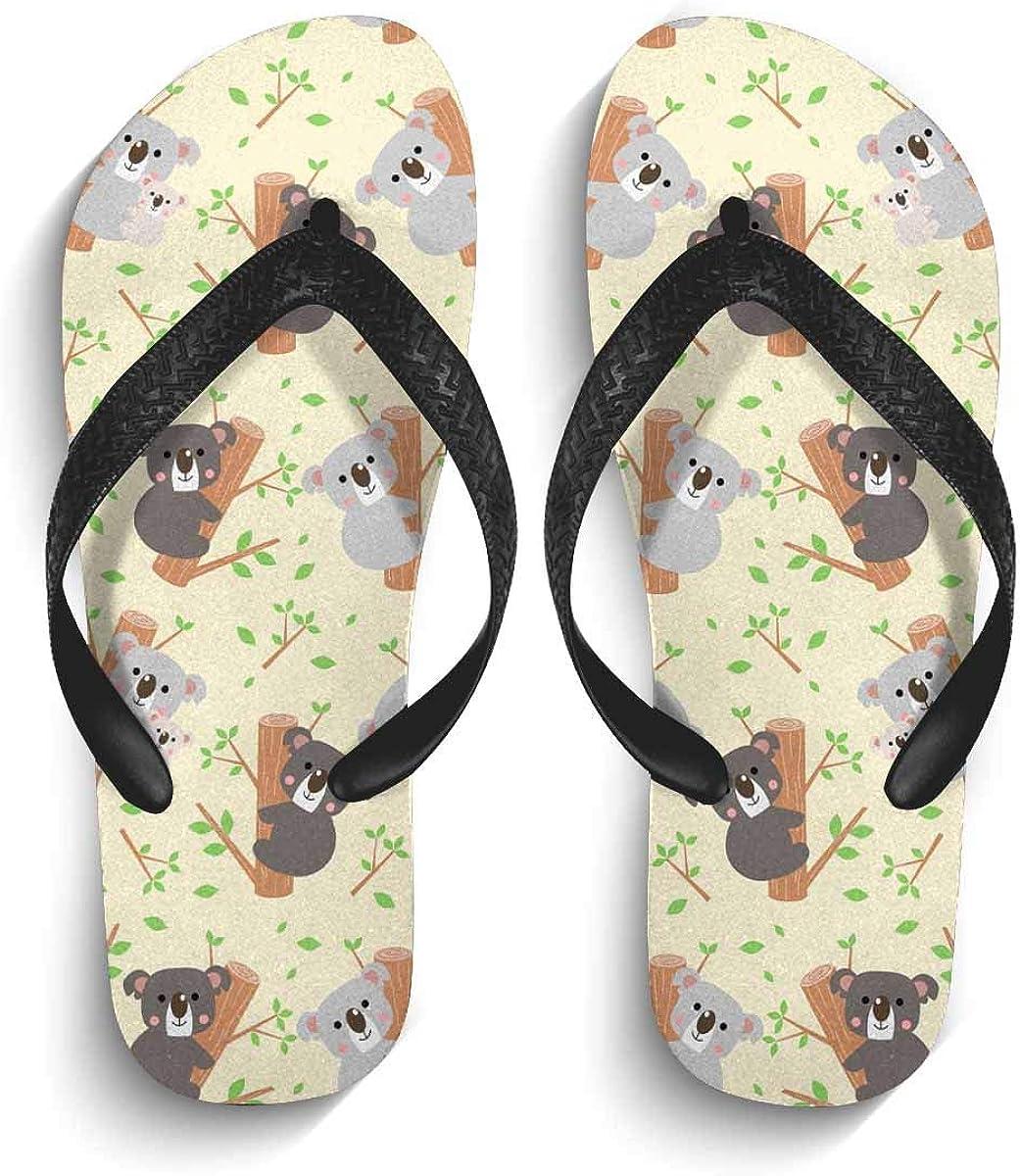 InterestPrint Men's Non-Slip Flip Flops Cute Koala and Leaves on Yellow Thongs Sandals for Beach Lounging Home M