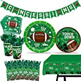 162 pcs Football Touchdown Party Supplies Game Day Accessory Super Bowl Themed Decorations Including Concession Stand Banner Plate Cups Napkins Plastic Table Cloth for Touchdown Party Serves 20
