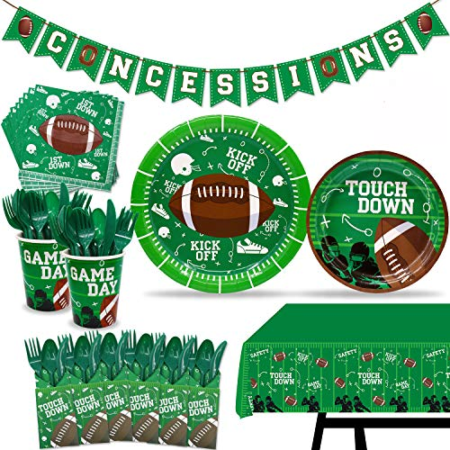 162 pcs Football Touchdown Party Supplies Game Day Accessory Super Bowl Themed Decorations