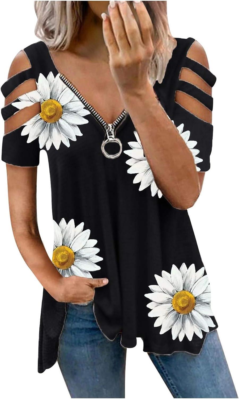 siilsaa Women's Summer Tops, Women's Stripe Zipper V-Neck Short Sleeve T-Shirts Plus Size Tops Blouse Basic Tunic Tee
